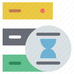 data storage processing, processing, server processing, server waiting, server with hourglass icon