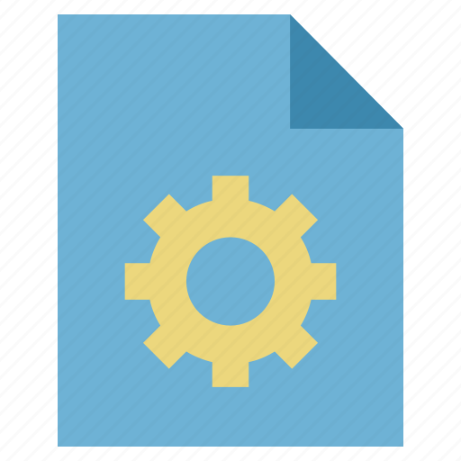document cog, file cog, file optimized, file with gear, optimize, optimized, page cog icon