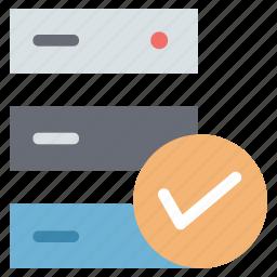 data storage successfully, database success, server success, successfully database icon