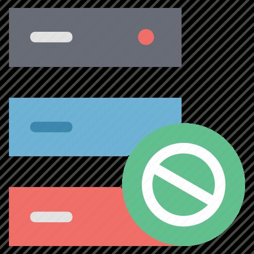 data storage forbidden, hosting forbidden, hosting restrict, server forbidden icon