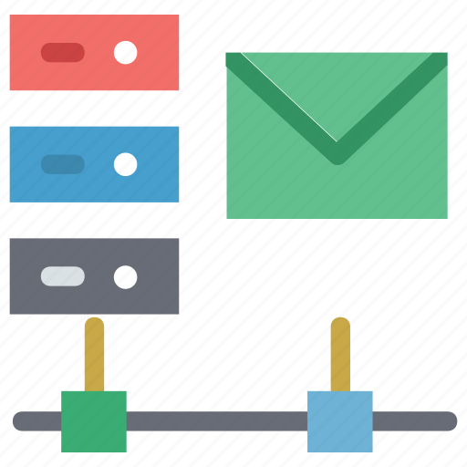 data storage email, server email, server online storage icon