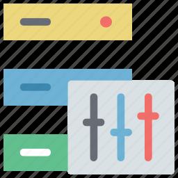 data, data storage, database, database with equalizer, hosting, rack, server, server with equalizer icon