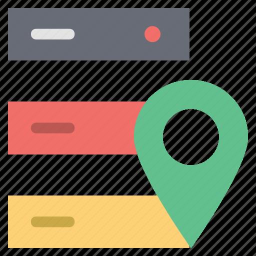 data storage location, gps with data storage, gps with server, map pin with server, navigation pin with server, server location, server pin icon