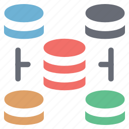 data storage, database connectivity, networking, server, server connect, web hosting and server icon