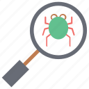 bug find, bug fine with magnefine, search glass for bug, virus finding icon