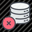 base, cross, data, database, delete, remove, storage icon