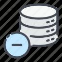 base, data, database, delete, minus, remove, storage icon