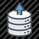 arrow, base, data, database, storage, up, upload icon