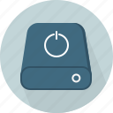 computer, connect, hard disk, io, off, power, turn on icon