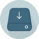 arrow, download, hardware, hdd, import, save, storage icon