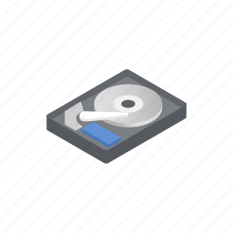 disk, hard, hardware, hdd, information, isometric, pc icon