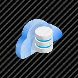 cloud, data, database, funnel, internet, isometric, storage icon
