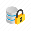 database, internet, isometric, padlock, password, security, storage icon