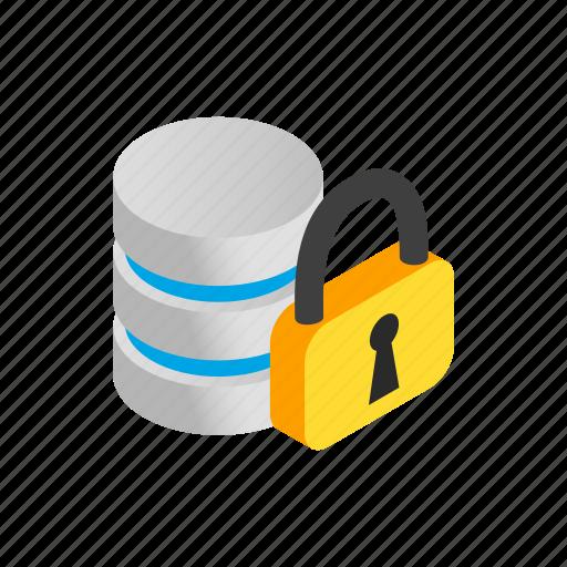 database, internet, isometric, padlock, password, security, storage icon