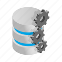 data, database, gears, internet, isometric, storage, technology icon