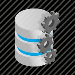 data, database, gears, internet, isometric, storage, technology icon