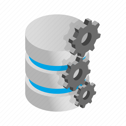 Data, database, gears, internet, isometric, storage, technology icon - Download on Iconfinder