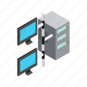 data, equipment, internet, isometric, monitor, server, storage