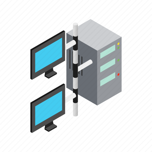 Isometric, monitor, storage, server, equipment, internet, data icon - Download