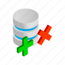 cross, data, database, internet, isometric, storage, yes icon