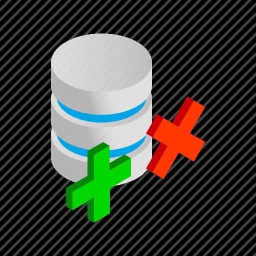 Cross, data, database, internet, isometric, storage, yes icon - Download on Iconfinder