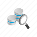 data, database, glass, internet, isometric, magnifying, storage icon