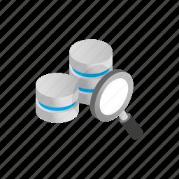 data, database, glass, internet, isometric, magnifying, storage icon