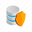 data, database, internet, isometric, shield, storage, technology icon