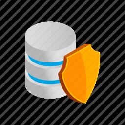 data, database, internet, isometric, shield, storage, technology icon