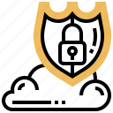cloud, lock, protection, security, shield