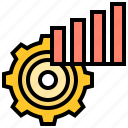 chart, cogwheel, engineer, management, setting icon