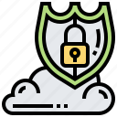 cloud, lock, protection, security, shield icon