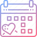 calendar, date, dating, heart icon
