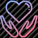 embrace, hand, heart, hug, love icon