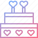 cake, dessert, heart, love, wedding icon