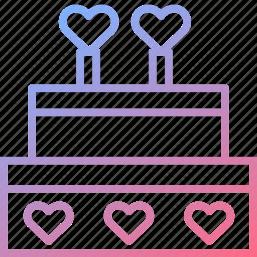 cake, dessert, heart, love, wedding icon