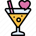 cocktail, date, love, night, romantic icon