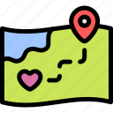 date, love, maps, night, romantic icon