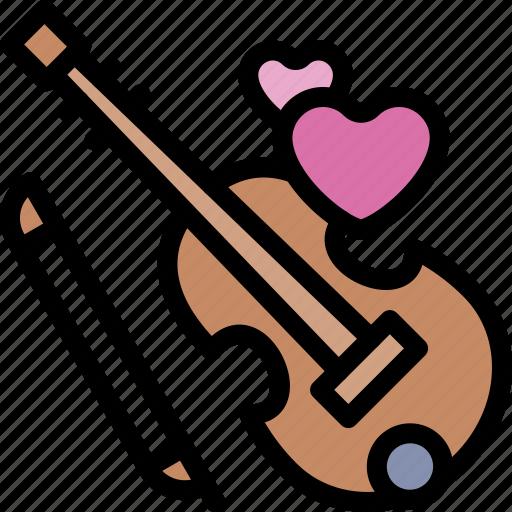 date, love, night, romantic, violin icon