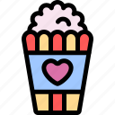 date, love, night, popcorn, romantic icon