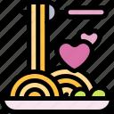 date, love, night, romantic, spaghetti icon