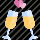 cheers, date, love, night, romantic icon