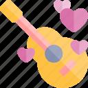 date, guitar, love, night, romantic icon