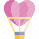air, balloon, date, hot, love, night, romantic icon