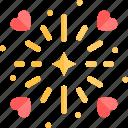 date, fireworks, love, night, romantic icon