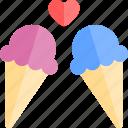 creams, date, ice, love, night, romantic icon