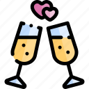 cheers, date, love, night, romantic icon