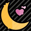 date, love, moon, night, romantic icon