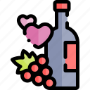 date, love, night, romantic, wine icon