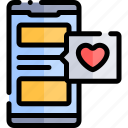 date, love, night, romantic, smartphone icon